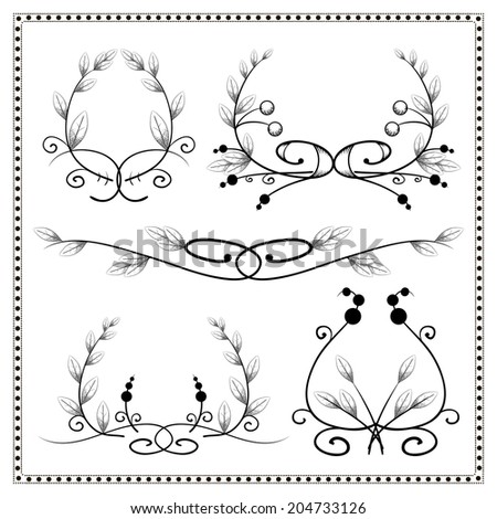 Set of vintage decorative floral elements and dividers - stock photo