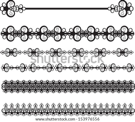 set of vintage dividing lines - stock photo