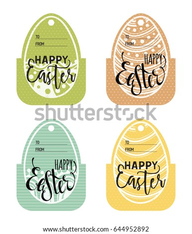 Set vintage easter gift tags happy stock illustration 644952892 set of vintage easter gift tags happy easter lettering caption zentangle holiday design for negle Choice Image
