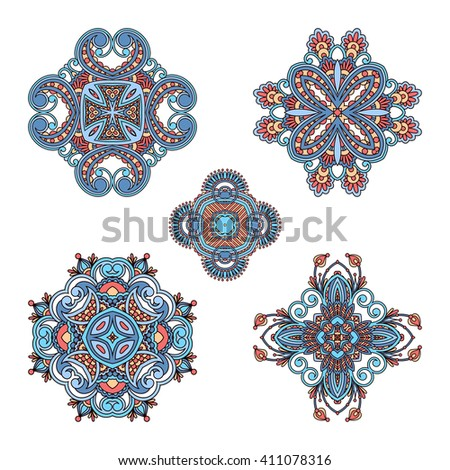 Set of vintage floral decorative round elements for design, print, embroidery. Raster version. - stock photo