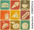 set of Vintage Food Labels - Retro Signs with Grunge Effect - JPEG version - stock photo