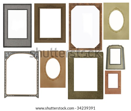 Set of vintage frames isolated on white - stock photo