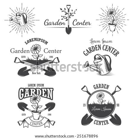 set of vintage garden center emblems labels badges logos and designed elements