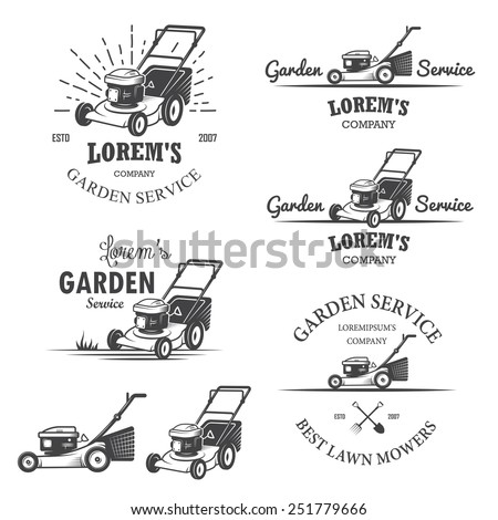 Set of vintage garden service emblems, labels, badges, logos and designed elements. Monochrome style - stock photo