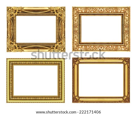 set 4 of Vintage gold frame with blank space, clipping path. - stock photo