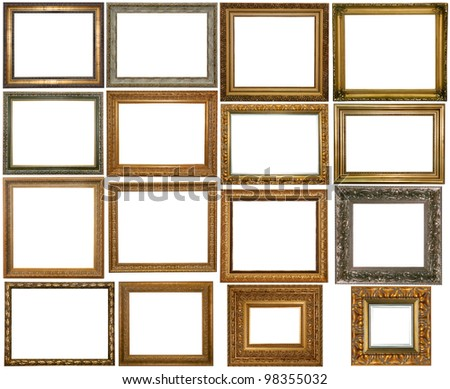 Set of Vintage gold picture frame and silver, isolated with clipping path - stock photo