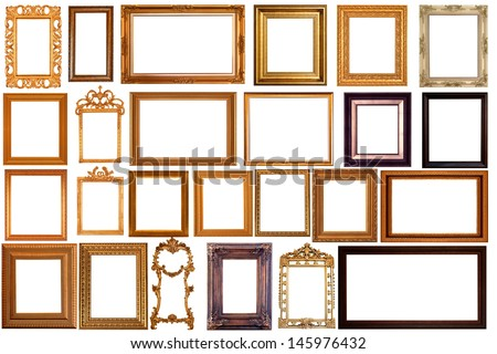 Set of Vintage Gold Picture Frame, Isolated With Clipping Path - stock photo