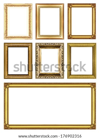 set of Vintage golden frame with blank space - stock photo
