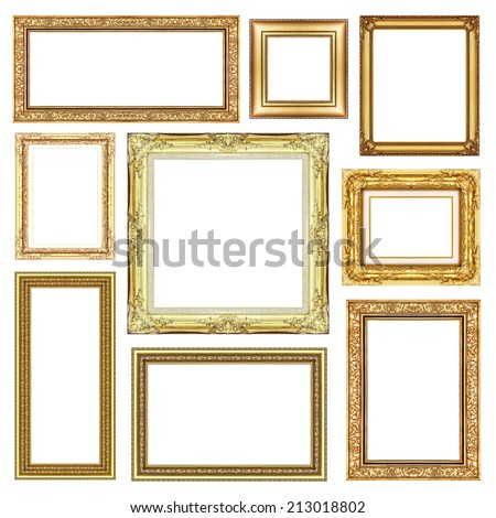 set of Vintage golden frame with blank space, clipping path