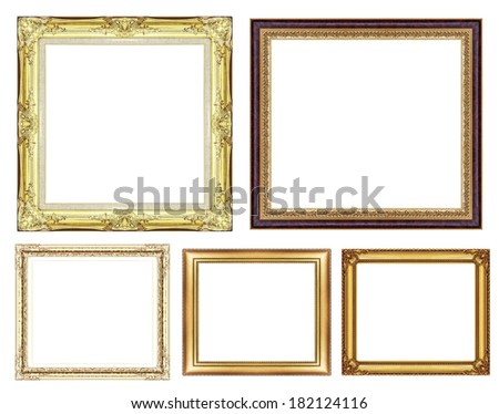 set of vintage golden frame with blank space, with clipping path