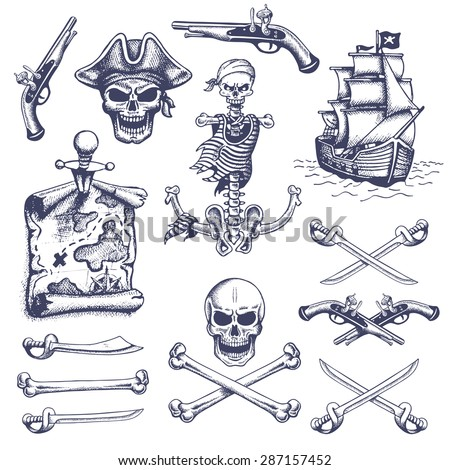 Set of vintage hand drawn pirates designed elements. Isolated. Doodle style. Proverbs. Layered. - stock photo