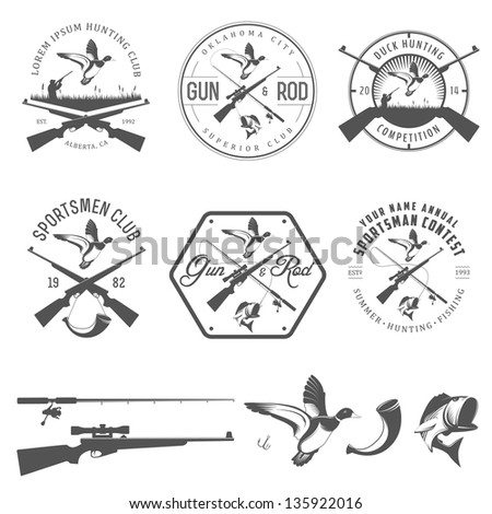 Set of vintage hunting and fishing labels and design elements - stock photo