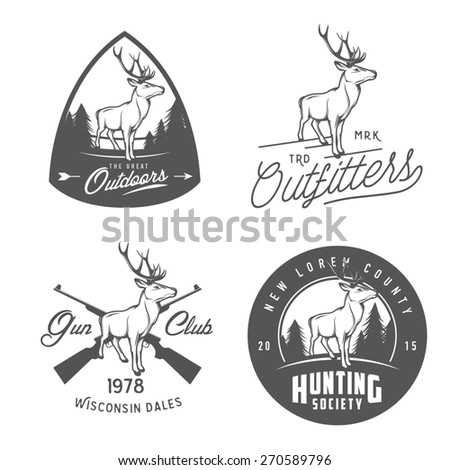 Set of vintage outdoors labels, badges and design elements - stock photo