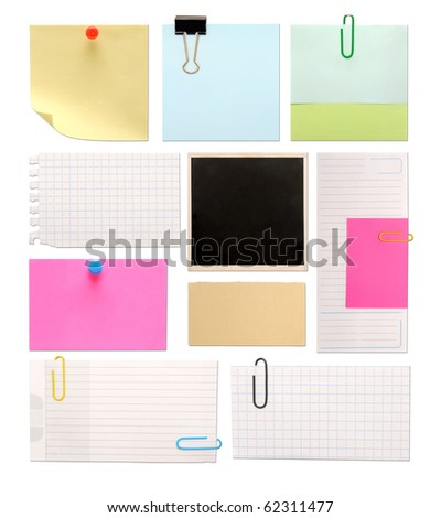 set of vintage paper notes isolated on white background