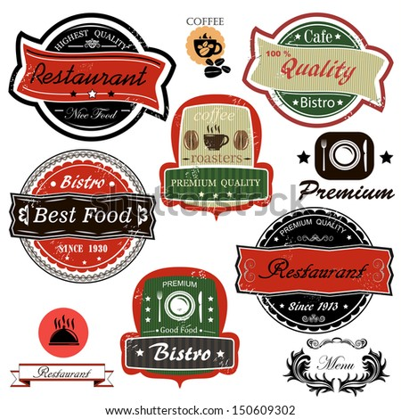 Set of vintage restaurant, bistro cafe and coffee labels - stock photo