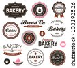 Set of vintage retro bakery badges and labels - stock vector