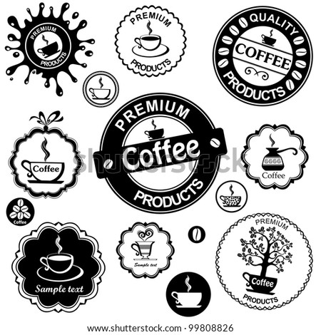 Set of vintage retro coffee badges and labels isolated on White background. illustration - stock photo