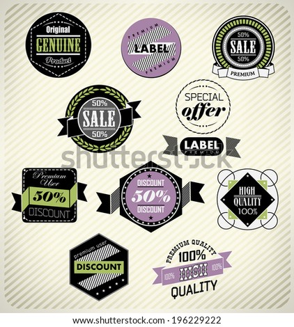 Set of vintage retro labels - stock photo