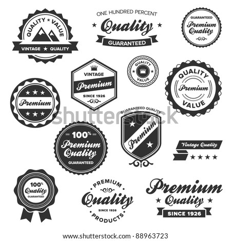 Set of vintage retro premium quality badges and labels - stock photo
