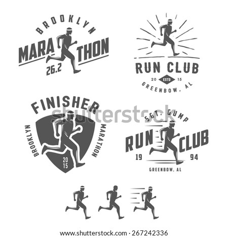 Set of vintage running club labels, emblems and design elements - stock photo