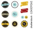 Set of vintage sale labels, badges and stickers - stock photo