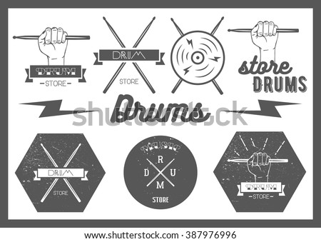 Set of vintage style drums labels, emblems and logo. Music design elements drum, drumsticks, hand, snare. Lettering and typography. - stock photo