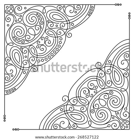 Set of Vintage Template with Ornate Lace Corners. Hand Drawn Borders in Trendy Linear Style. Wedding Decor - stock photo