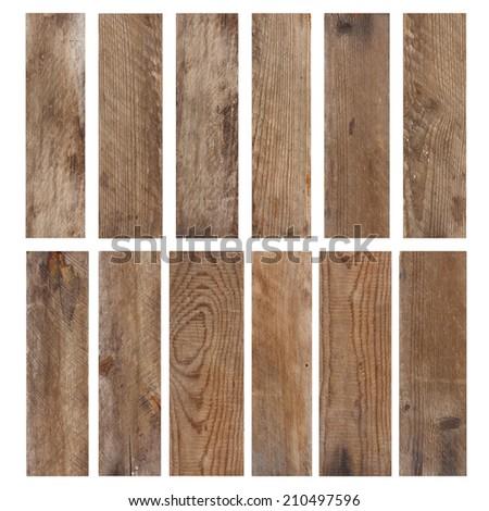 Set of vintage weathered wooden planks isolated on white background - stock photo