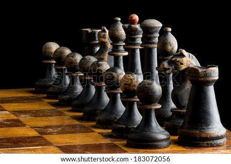 Set of vintage wooden chess pieces  - stock photo