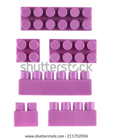 Set of violet plastic toy construction block bricks isolated over the white background, top and side foreshortenings - stock photo