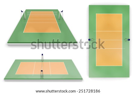 Set of volleyball areas with different view isolated on white background. - stock photo