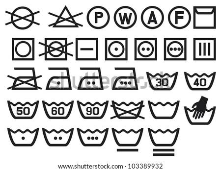 Set Washing Symbols Laundry Icons Bleaching Stock Illustration