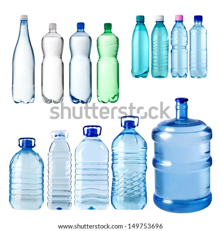 set of water bottles isolated on white background - stock photo