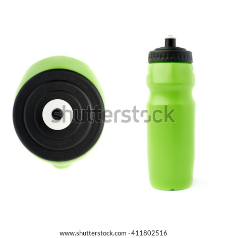Set of Water sport plastic green bottle isolated over the white background - stock photo