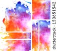 Set of watercolor abstract hand painted backgrounds  - stock