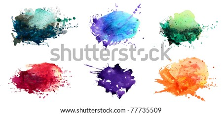 Set of watercolor abstract hand painted backgrounds - stock photo