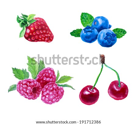 Set of watercolor berries. Strawberry, cherry, blueberry, raspberry. Hand drawn in vintage style. Raster version. - stock photo