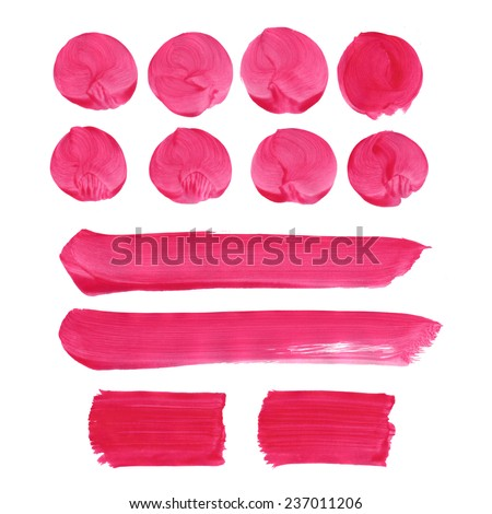 Set of watercolor blobs, isolated on white background. Blank watercolor colored shapes, web buttons - stock photo