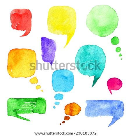 Set of watercolor hand drawn speech bubbles. Illustration. - stock photo