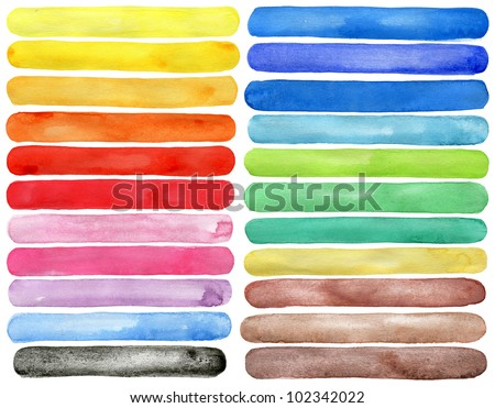 Set of watercolor hand painted brush strokes isolated on white Made myself. - stock photo