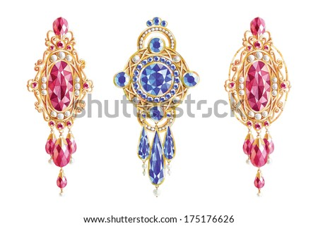 Set of watercolor jewelry - stock photo