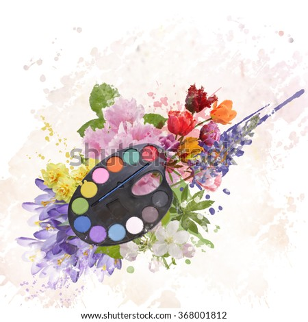 Set of Watercolor Paints and Flowers - stock photo