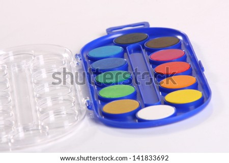 Set of watercolor paints, isolated on white.