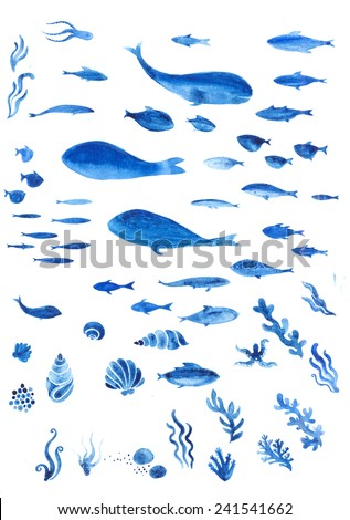 Set of watercolor sea animals - stock photo