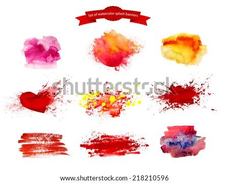Set of watercolor splash banners. Colorful  paint splats.  Paint splats background. - stock photo