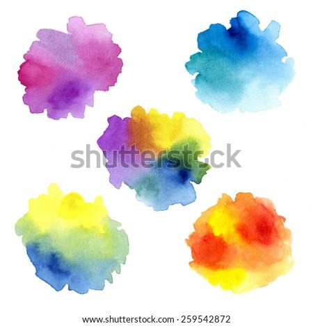Set of watercolor splashes - stock photo