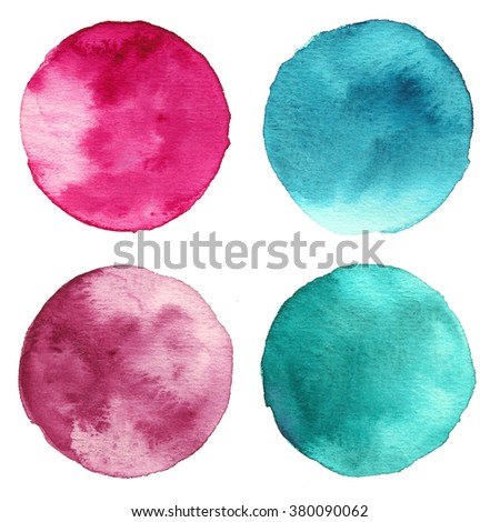 Set of watercolor stain. Spots on a white background. Circle. Pink, maroon, blue, turquoise. - stock photo