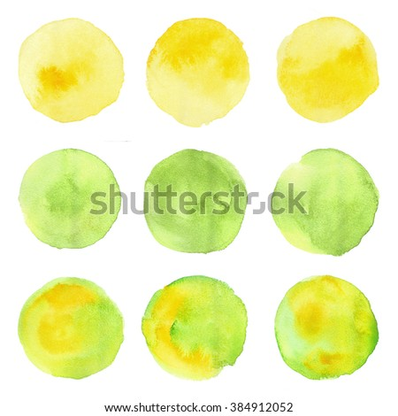 Set of watercolor stain. Spots on a white background. Round. Yellow, green, olive. - stock photo