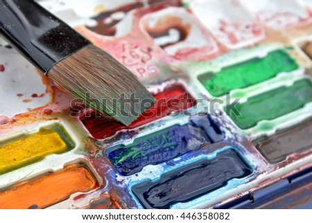 Set Of Watercolors Paints And Flat Brush - stock photo