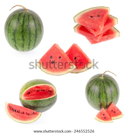 Set of watermelon isolated on white background - stock photo